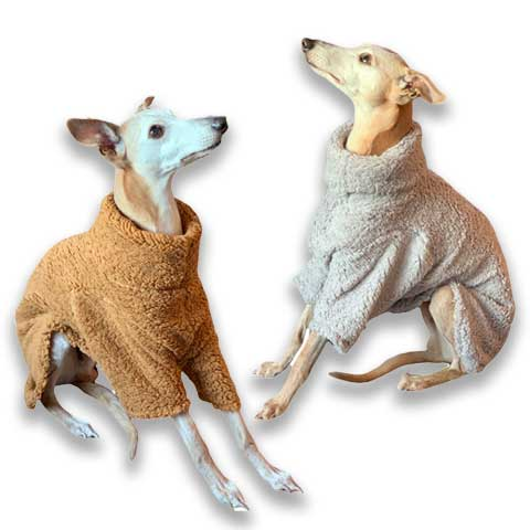 camel and light grey fluffy fleece whippet jumper on joey the sighthound