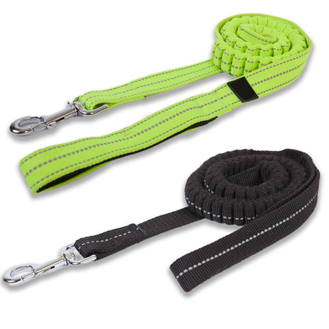 shock absorbing dog leash lead with reflective detailing. available in hi vis or black. both have a strong clasp for safety and a padded handle for comfort.