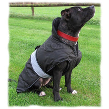 Load image into Gallery viewer, dog coat with underbelly section. black on a black staffie