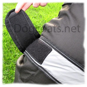 reflective belt round the middle and fastened with large Velcro for secure fit