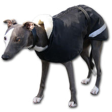 Load image into Gallery viewer, black whippet coat with reflective safety strip by Kellings Dog Coats