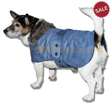 Load image into Gallery viewer, Blue suede dog coat jack russell pekingese westie etc | DryDogs dog coats