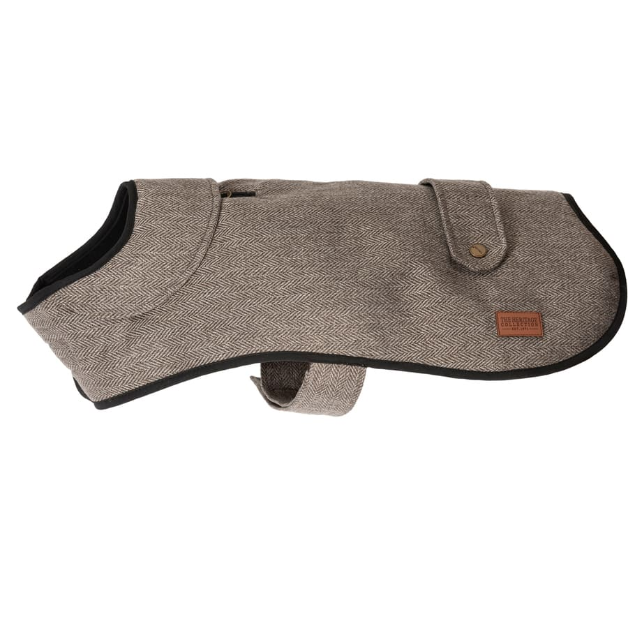 posh brown herringbone dog coat with fleece lining, leg straps and harness hole for lead attachment