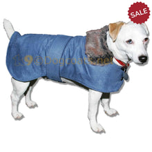Load image into Gallery viewer, Dog-coat-with-fur-colar-blue-or-brown | DryDogs.co.uk