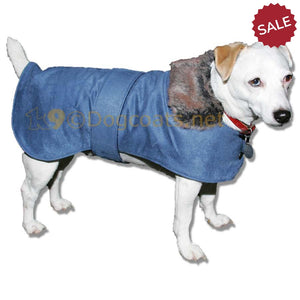 Dog-coat-with-fur-colar-blue-or-brown | DryDogs.co.uk