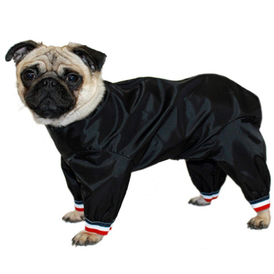 Waterproof dog coat with short legs. Suitable for pugs, jack Russel etc.