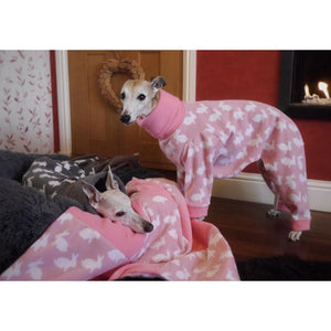 Fleece whippet lurcher greyhound onesies in grey our pink with rabbits design. Ideal house coat.