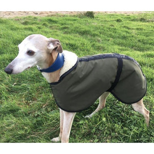 Super soft whippet coat made from olive green microfibre waterproof material and fleece lined for warmth and comfort. Ideal winter whippet coats best