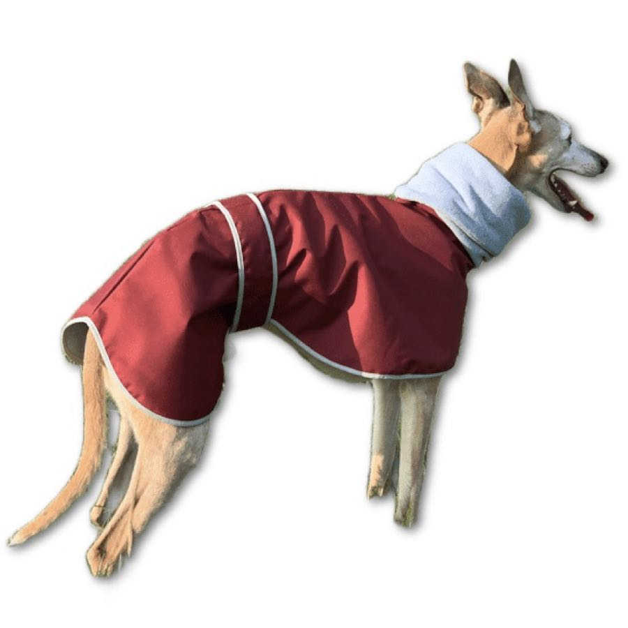 Waterproof polar fleece greyhound coat with built in snood hood. Lead hole included.