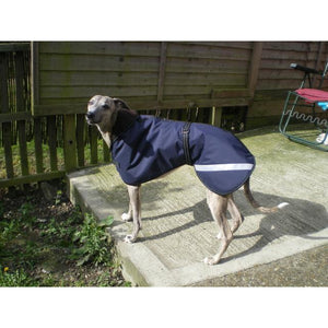 Greyhound coat with reflective for safety. Fleece lined for warmth. Keep your greyhound warm and dry this winter when the weather turns nasty