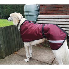 Load image into Gallery viewer, waterproof saluki coat for winter wear. greyhounds, borzoi, whippets. perfect waterproof dog coats