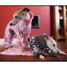 Load image into Gallery viewer, Fleece onesie pyjamas for greyhounds and whippets. Rabbit design with matching plain collar and cuffs.