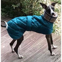 Load image into Gallery viewer, Teal whippet coat with warm polar fleece lining in cream check pattern