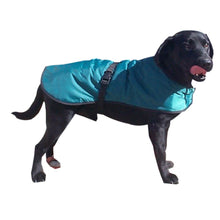 Load image into Gallery viewer, country green walking out dog coat ideal in all weathers. reflective safety strip available