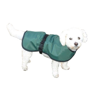 green waterproof dog coat with thin lining, ideal for the summer months or warm weather