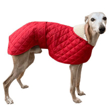 Load image into Gallery viewer, Red quilted whippet/greyhound dog coat. Velcro fastening front and waist