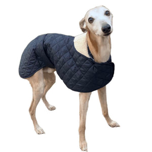 Padded greyhound coat in blue with matching tartan lining and a fur collar