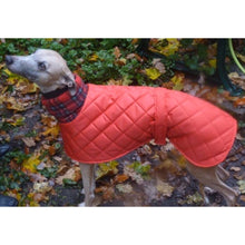 Load image into Gallery viewer, red quilted waterproof windproof whippet coat. Ideal for the cold weather of winter months