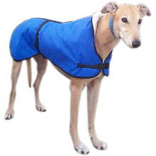 Load image into Gallery viewer, waterproof greyhound coats uk. fleece lined for warmth in winter. windproof with adjustable fasteners. no velcro