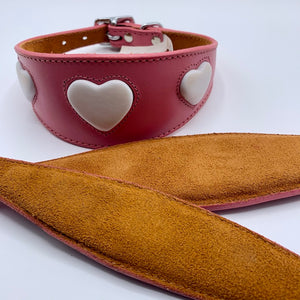 suede backing. padded for comfort. pink leather heart-design whippet and greyhound collars. also iggy collars