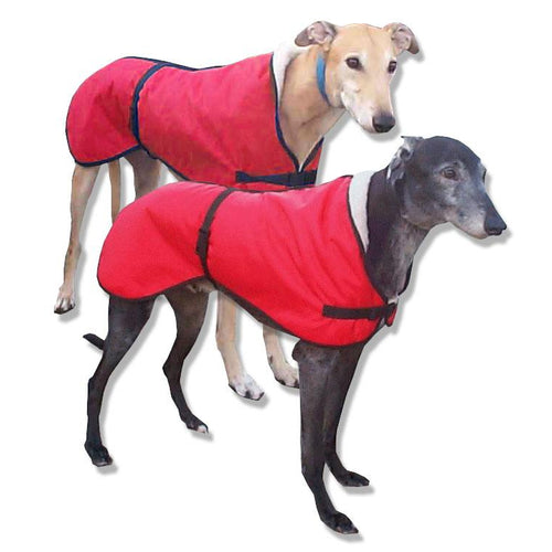microfiber anti-russle greyhound coat in red. fleece lined for comfort and super soft fabrics