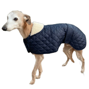 Cosipet quilted sighthound coat with vecro adjustable waist and chest. Fleece collar for the trendy whippet