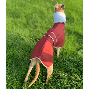 Lurcher coats uk. Waterproof, fleece lined with build in fleece snood. Sighthound Saluki Greyhound whippet