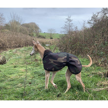 Load image into Gallery viewer, Side view of Joey wearing a camouflage whippet dog coat