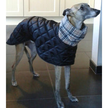 Load image into Gallery viewer, dog coat with collar snood. super warm and cosy. saluki, whippet, greyhound, dog coat