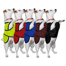 Load image into Gallery viewer, underbelly dog coats colours available red hivis yellow royal blue wine and black with reflective options