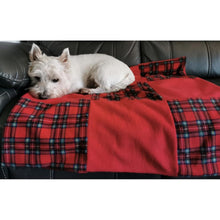 Load image into Gallery viewer, red tartan fleece pet blanket. perfect westie present/gift. double thick fleece