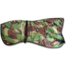 Load image into Gallery viewer, woodland camo pattern greyhound raincoat. winter walking out lurcher coat uk | drydogs.co.uk
