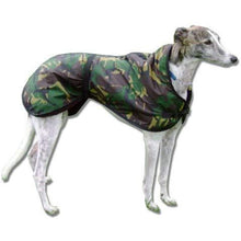 Load image into Gallery viewer, Camouflage greyhound coat - waterproof, windproof, warm lining, adjustable waist and chest strap. Greyhound coats uk | drydogs.co.uk