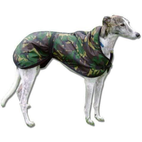 Camouflage greyhound coat - waterproof, windproof, warm lining, adjustable waist and chest strap. Greyhound coats uk | drydogs.co.uk