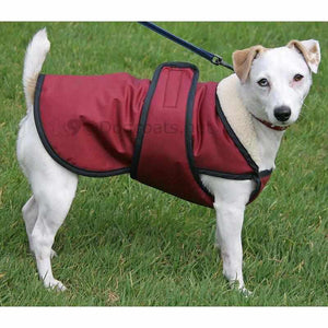 dog coats with check protector uk wine fleece lined