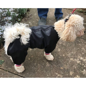 dog coat with legs and full body waterproof protection. Keep the whole dog clean and dry on muddy walks