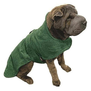shar pei dog coat made from towelling material. stop your dog shaking all over you when wet