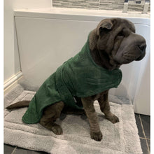 Load image into Gallery viewer, dog towels uk. a towelling material cut into the shape of a dog robe for the best of both worlds