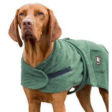 Load image into Gallery viewer, dog towel robe uk. green perfect for bathtime or on the beach.
