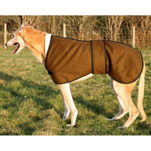 Load image into Gallery viewer, Country persuites, Sandstone greyhound jacket in wax material from the side view