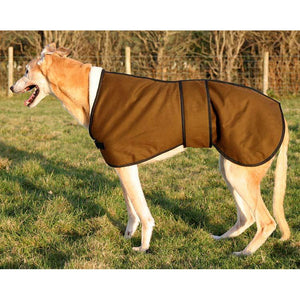 Country persuites, Sandstone greyhound jacket in wax material from the side view