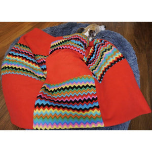 zigzag and red double thick fleece extra warm pet blankets and throws