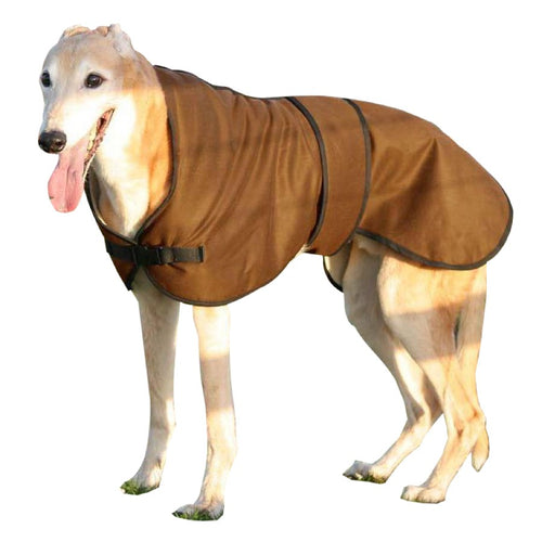 Ted the greyhound wearing our brown coloured wax lurcher coat in the countryside