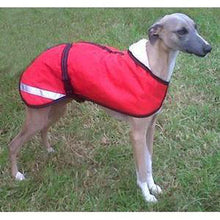 Load image into Gallery viewer, red whippet coat with reflective strips thank to one of our customers for sending in the picture
