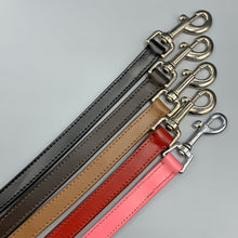 Load image into Gallery viewer, coloured leather dog leads pink black tan red and black leather with suede backing quality