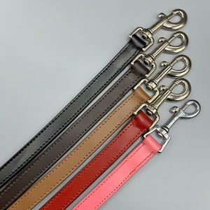 coloured leather dog leads pink black tan red and black leather with suede backing quality