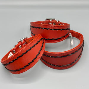 Red Oval-Stitched Leather Sighthound Collar