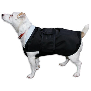 side view of jack russell wearing drydogs unlined underbelly dog coat