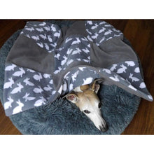 Load image into Gallery viewer, double fleece pet blanket with rabbit design in grey. Pet throw