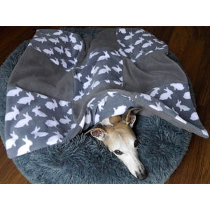 double fleece pet blanket with rabbit design in grey. Pet throw